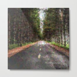 Geometric Road With Trees Metal Print