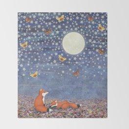 moonlit foxes Throw Blanket