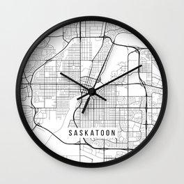 Saskatoon Map, Canada - Black and White Wall Clock