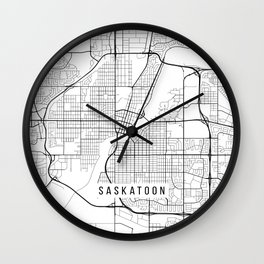Saskatoon Map, Canada - Black and White Wall Clock