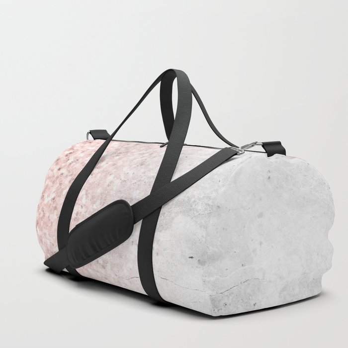 Blush Pink Sparkles on White and Gray Marble Duffle Bag