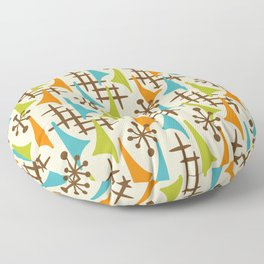 Retro Mid Century Modern Atomic Wing Pattern 421 Brown Orange Turquoise and Olive Green Floor Pillow