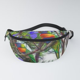 Abstract Beautiful Rainbow Lorikeets in a tree Fanny Pack