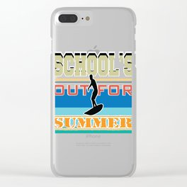 """Surf Tee Saying """"School's Out For Summer"""" Surfing Time Is Time To Surf So Grab Your Board T-shirt Clear iPhone Case"""