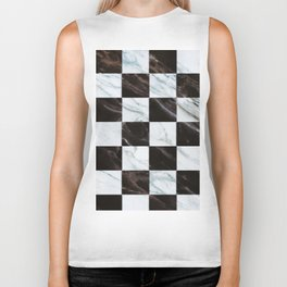 Zig zag checkered pattern with marbling Biker Tank