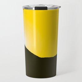 Mountain silhuette - sunrise sky - black rockymountain on yellow background - #Society6 #buyart Travel Mug