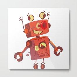Dizzy Robot Metal Print