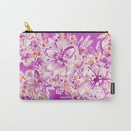 GOOD VIBES Wild Pink Watercolor Floral Carry-All Pouch