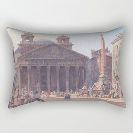 The Pantheon And The Piazza Della Rotonda In Rome 1835 by Rudolf von Alt | Reproduction Rectangular Pillow