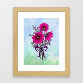 Magenta Cosmos with German Statice Bouquet on Sky Framed Art Print