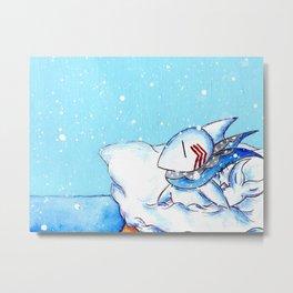 Seaside Snowfall Metal Print