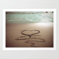 Beach Heart Sand Writing Art Print