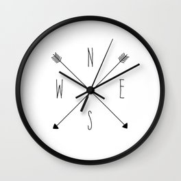 Compass - North South East West - White Wall Clock