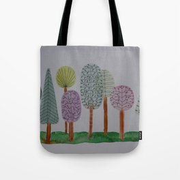 Forest Line Drawing Tote Bag