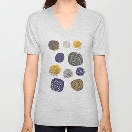 Abstract Circles in Mustard, Charcoal, and Navy Unisex V-Neck