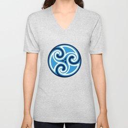 Celtic Triskele Ornament, Sky Blue and White Unisex V-Neck