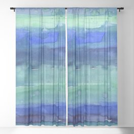 Abstract Blue Horizontal Stripes Watercolor Texture Sheer Curtain