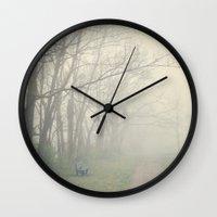 fog Wall Clocks featuring Fog by Laura Ruth