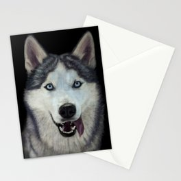 Siberian Husky Dog Painting Stationery Cards