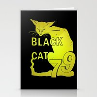 duvet cover Stationery Cards featuring BLACK CAT DUVET COVER by aztosaha