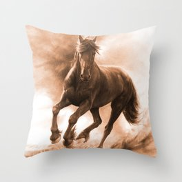 Horse in Storm - GRAPHITE DRAWING Throw Pillow