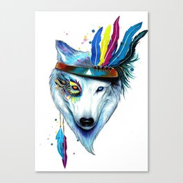 Wolf Lover Gift   Wolf With Feathers Canvas Print