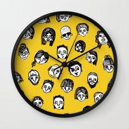 So Many People (Yellow) Pattern Print Wall Clock