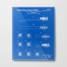 Toothbrush Patent - Blueprint Metal Print