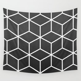 Charcoal and White - Geometric Textured Cube Design Wall Tapestry