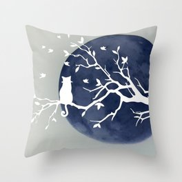 Blue moon | Dark moon | Cat on tree branch | Witchy cat | Wicca Throw Pillow