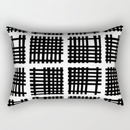 Mid Century Modern Abstract Squares Black and White Rectangular Pillow