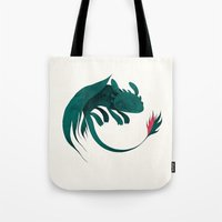toothless Tote Bags featuring toothless by yohan sacre