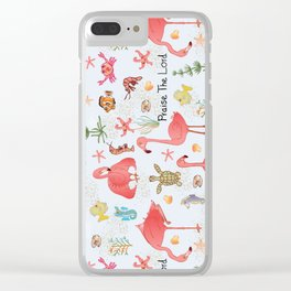 "© Little Flamingo ""Praise the Lord"" Clear iPhone Case"