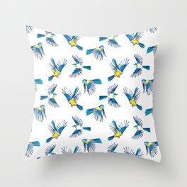Flying Blue Tit / Bird Pattern Throw Pillow
