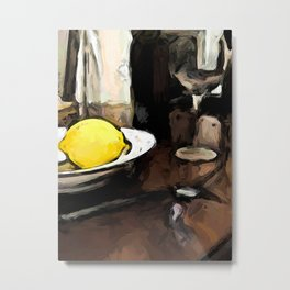 Lemon of Yellow in a White Bowl with Shadows 2 Metal Print