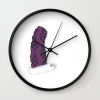 haunted mansion Wall Clocks featuring Haunted Mansion / Torn Creepy Wallpaper by Joel Dickinson
