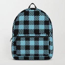 Light Sky Blue  Bison Plaid Backpack