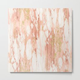 Rose Gold Marble - Rose Gold Yellow Gold Shimmery Metallic Marble Metal Print