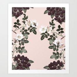 Bees + Blackberries on Pale Pink Art Print