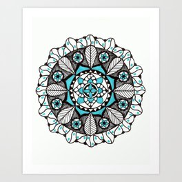 Teal Curves Art Print