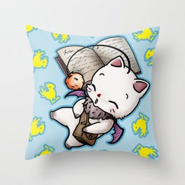 Moogle and chocobo Throw Pillow