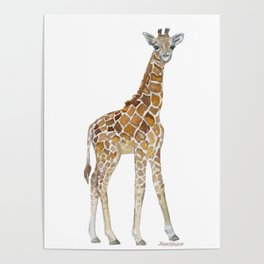 Baby Giraffe Watercolor Painting Poster
