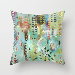 """Fly Free Between"" Original Painting by Flora Bowley Throw Pillow"