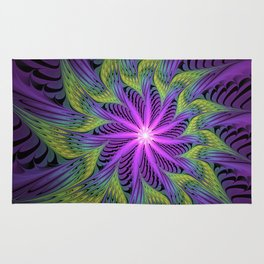 The Light from the Center, Fantasy Fractal Art Rug