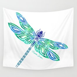 Tribal Dragonfly Blues and Greens Wall Tapestry