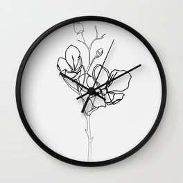 """Botanical Collection"" - Magnolia Flower Print Wall Clock"
