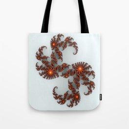 Orange Sunburst Fractal Tote Bag
