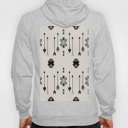 Tribal Native Arrows And Turquoise Symbols Minimal Design  Hoody