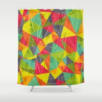 frame Shower Curtains featuring geo frame by Buster Fidez