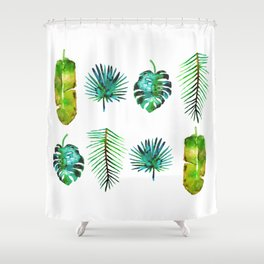 Four Tropical Leaves Shower Curtain
